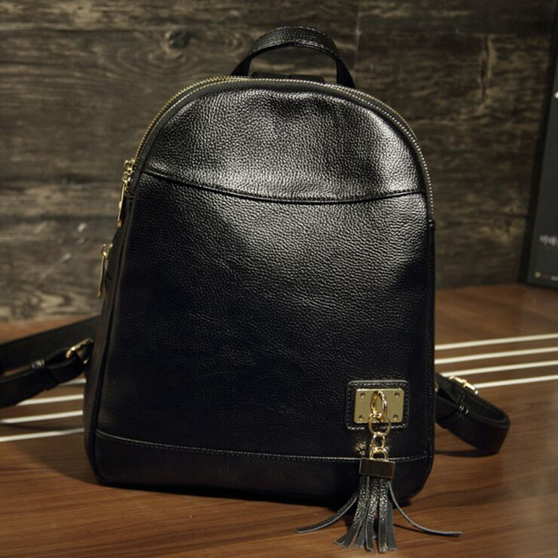 FOROCH New Women Backpack Youth Genuine Leather Daypacks for Teenage Girls Female School Shoulder Bag Bagpack Black Mochila 175