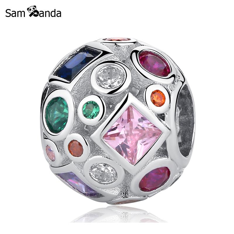 Authentic 100% 925 Sterling Silver Charm Bead Rainbow Crystals Colourful Life Charms Fit Pandora Bracelets Diy Women Jewelry