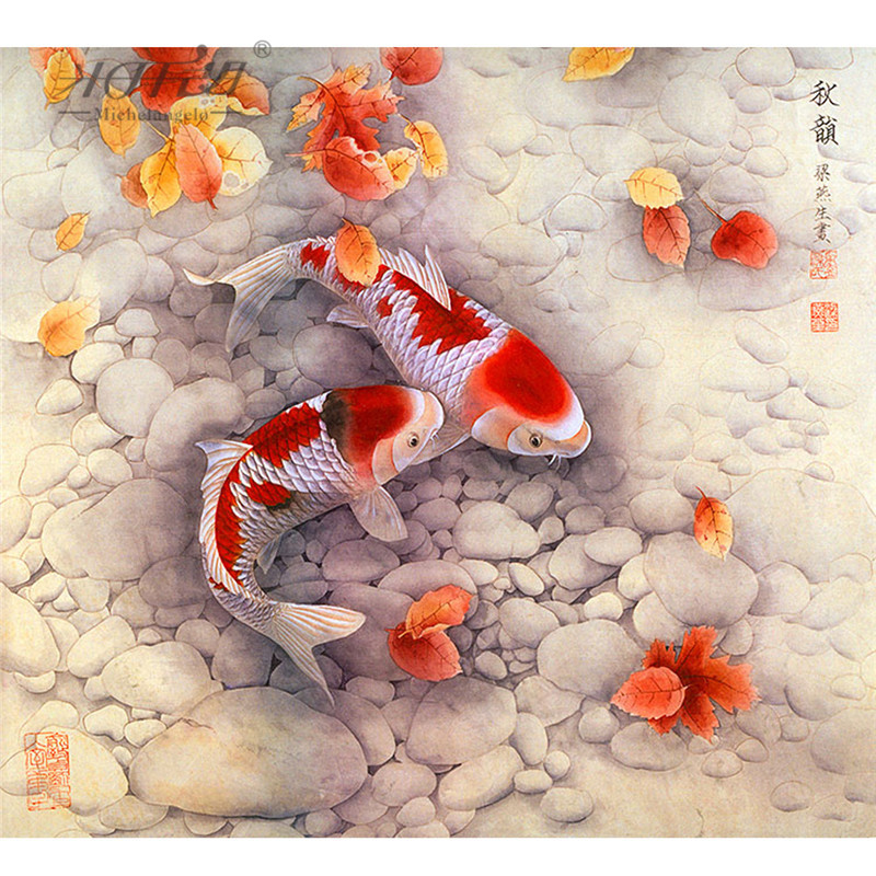 Michelangelo Wooden Jigsaw Puzzles 500 Pieces Chinese Old Master Auspicious Carp Cyprinoid Educational Toy Decorative Painting