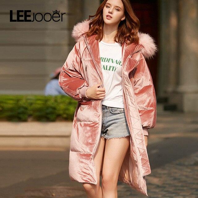 Leejooer новая зимняя коллекция 2017 года зимние Для женщин пальто куртка теплая Модная женская Парки куртка зимнее пальто капюшон натуральный песец Мех Пальто