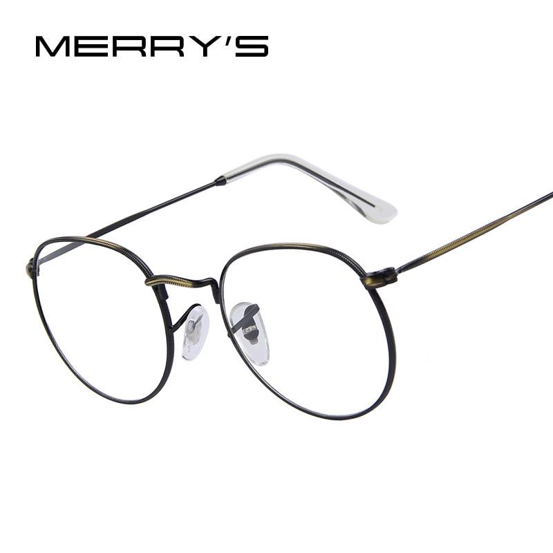 MERRY'S Women Retro Glasses Frames Men Brand Design Eyeglasses Fashion Unisex Optical Glasses Metal Frame