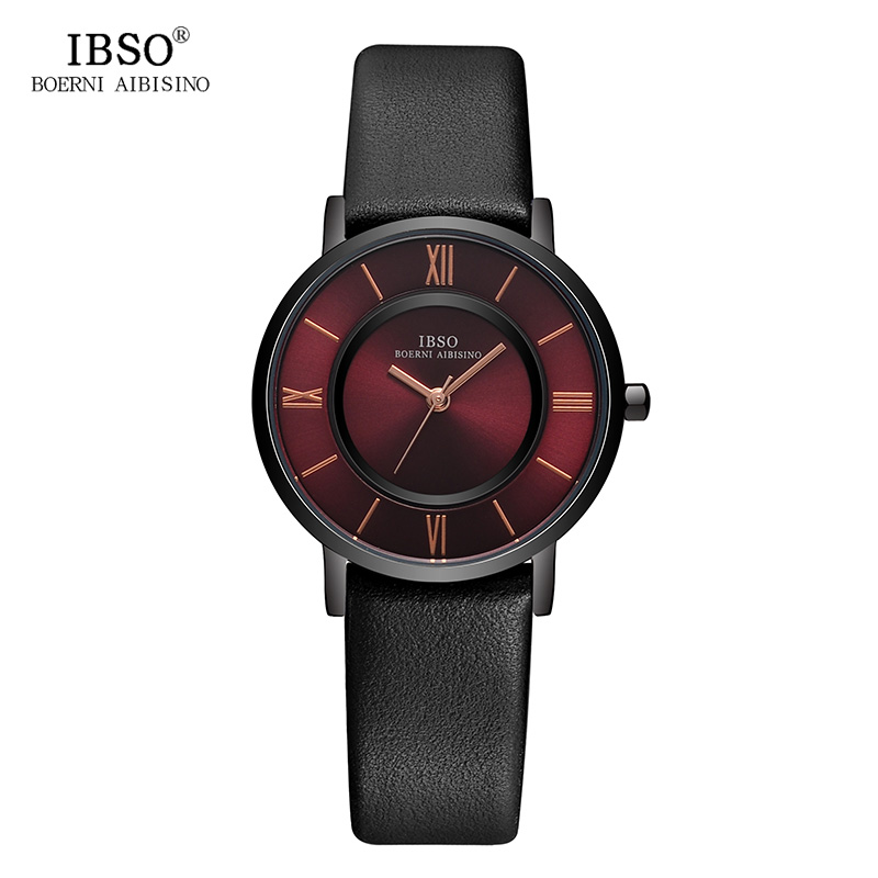 IBSO New Brand 7 MM Ultra-Thin Women Watches 2018 Gray Genuine Leather Strap Ladies Watch Luxury Quartz Watch Women Montre Femme ibso top brand women watches 2017 shell dial genuine leather band watch women casual fashion quartz wristwatches montre femme