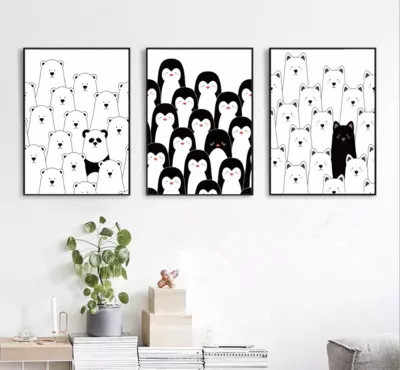 Black and White Decoration Painting for Children Room Wall Pictures for Living Room Kitchen Anime Poster Penguin Herd Not Framed