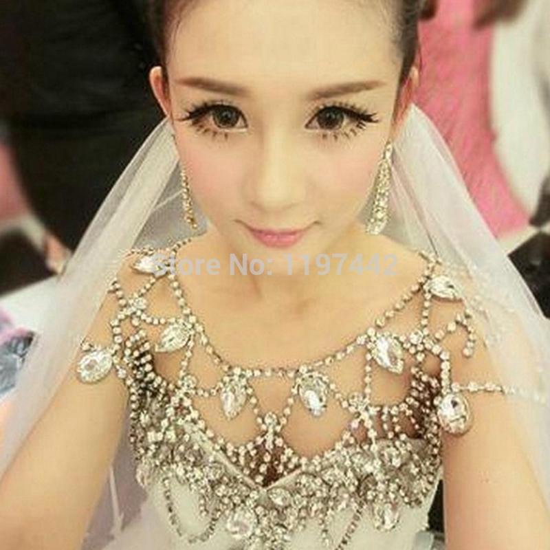 Designs Bridal Shoulder Chain Vintage Necklaces Rhinestone Wedding Choker  Necklace Accessories Jewelry vintage bridal rhinestone crystal db057517c7aa
