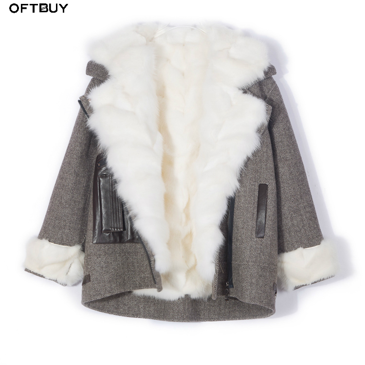OFTBUY 2019 Real Fur Coat Winter Jacket Women Parka Natural Fox Fur Liner Thick Warm Outerwear Streetwear Brand Detachable New