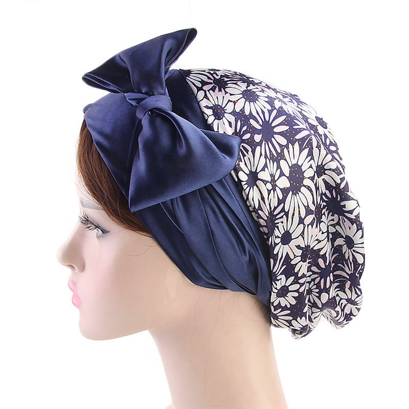 Titmsny New Style Ladies Bow Tie Scarf Hat Silk Ribbon Chemotherapy Cap Casual Head Wrap Cap Muslim Hijab Lady Beanie Cap Turban headpiece