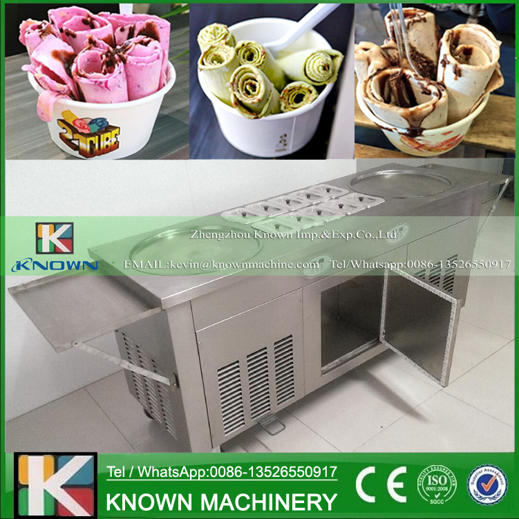Free Shipping! The 2 Round Ice Plates Of Fried Ice Cream Roll Machine With 10 Cooling Tanks And Refrigeratir And Side Plates