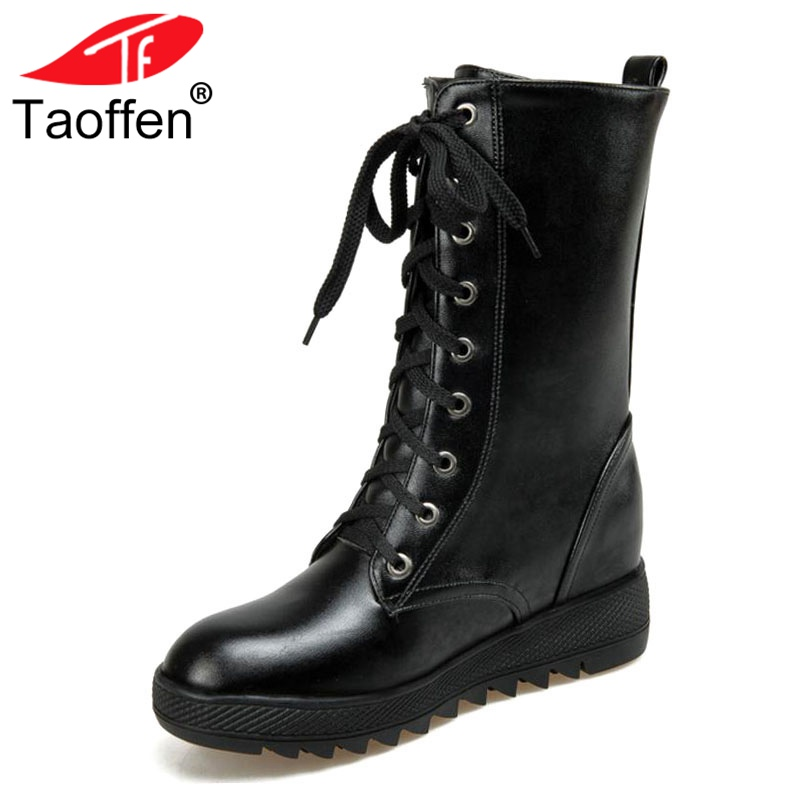 цена Taoffen Women Boots Thick Fur Winter Shoes Half Short Boots Warm Shoes Lace Up Cross Strap Short Boots Women Shoes Size 34-43