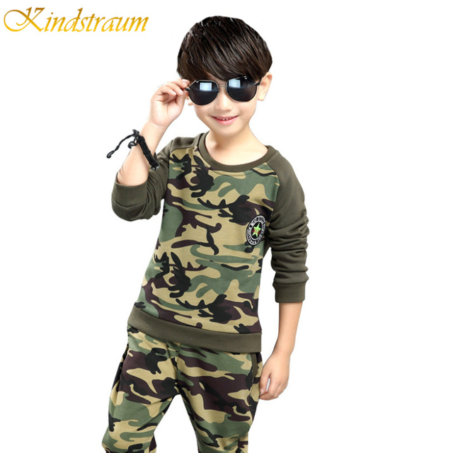 Kindstraum Kids Suits for Boys Camouflage Suits 2pcs Hoodies + Pant Kids Children Spring Clothing Sets Sportswear, MC381