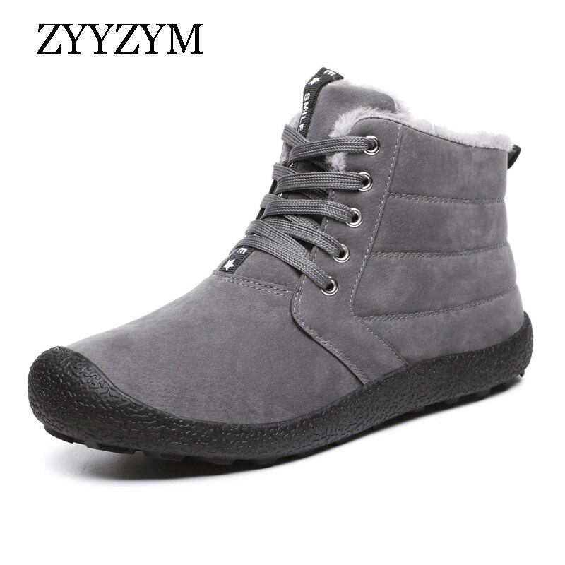 ZYYZYM Men Snow Boots Winter Plush Keep Warm Men Boots Fashion Outdoor Cotton Shoes Men's Winter Shoes Large Size EUR 39 48