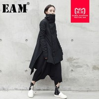 [EAM] 2018 New Fashion Winter Stand Lead Irregular Long Type Cotton padded Clothes Loose Coat Solid Black Jacket Woman YA77101