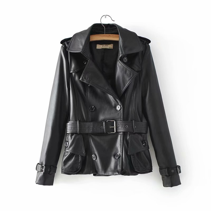2019 Spring New European and American Fashion Women's Double-breasted Belt Locomotive PU   Leather   Short   Leather   Tide