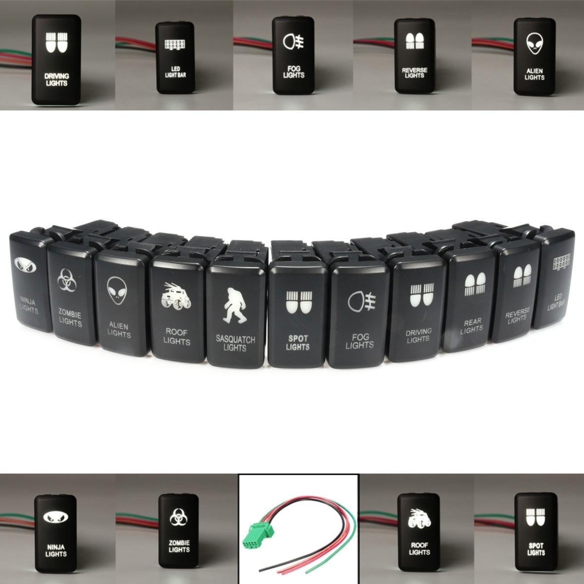 1x Dual White ON/OFF LED Light Bar Push Switch For Toyota Landcruiser Hilux Prado 120 /FJ CRUISE Honda Grom