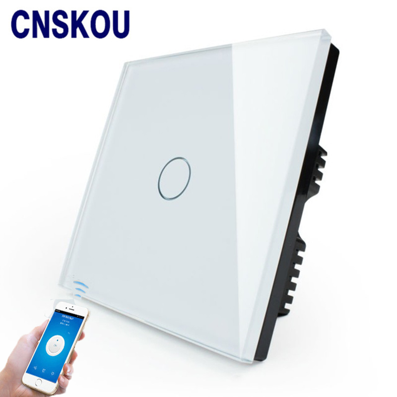 Cnskou Manufacturer Wifi Touch Switch, LED Light Wall Smart Home Remote Control UK Switch,1 Gang 1 Way Luxury Glass Panel uk 1gang dimmer led touch switches black crystal glass panel light wall switch remote smart home 220v 110v free shipping