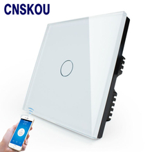Cnskou Manufacturer Wifi Touch Switch, LED Light Wall Smart Home Remote Control UK Switch,1 Gang 1 Way Luxury Glass Panel