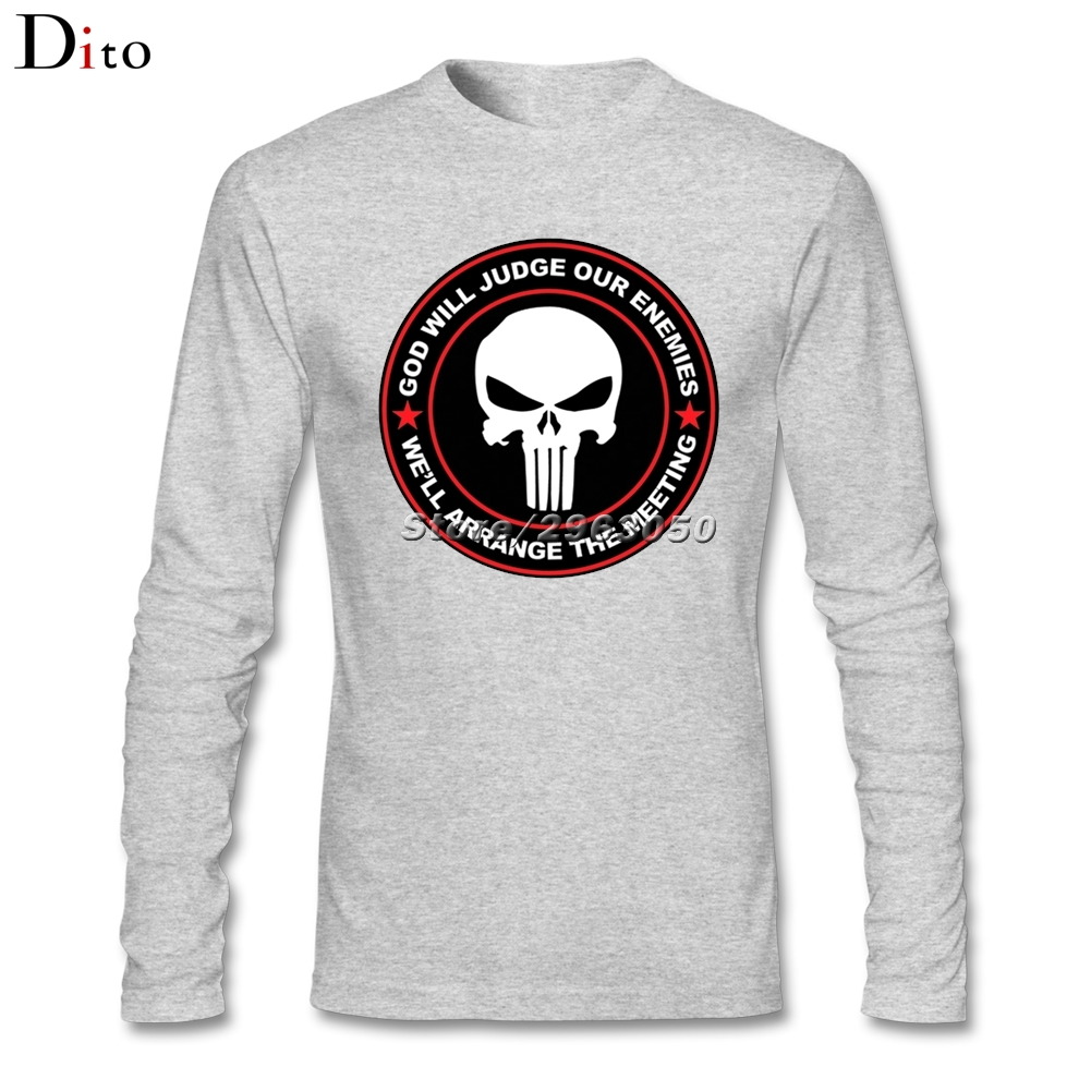 Custom Long Sleeve Valentine's Punisher Skull Tee Shirt Men Man Swag His And Hers Backing Tshirt