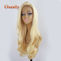 Oxeely Long Blonde Color #613 Synthetic Lace Front Wigs Glueless Natural Wave Lace Front Wigs for Fashion Women