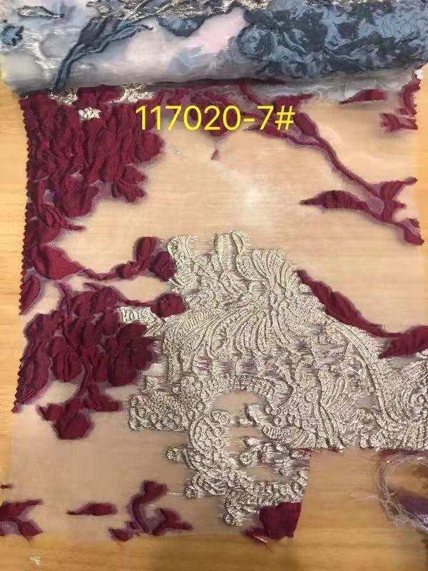 embroiderd lace fabric Sat 12 1616 with sequins beautiful Nigerian sequins lace fabric for party dress