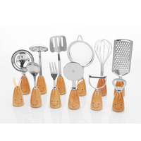 12 Pieces Smiling Face Stainless Steel Cooking Tools Kitchen Utensils Set With Wooden Handle