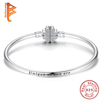 Authentic 100 925 Sterling Silver Chain Bracelet Bangle Pave Clover Cubic Zirconia CZ DIY Jewelry