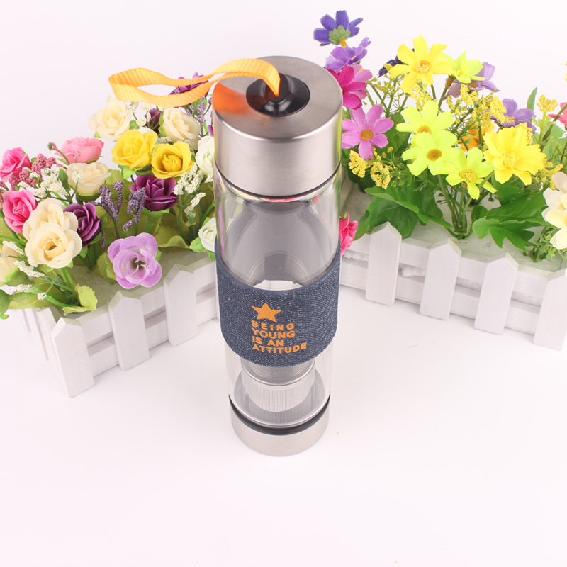 2017 Creative Glass borosilicate glass+stainless steel Portable Bike Sports Travel Camping Water Bottle 24*5.5cm