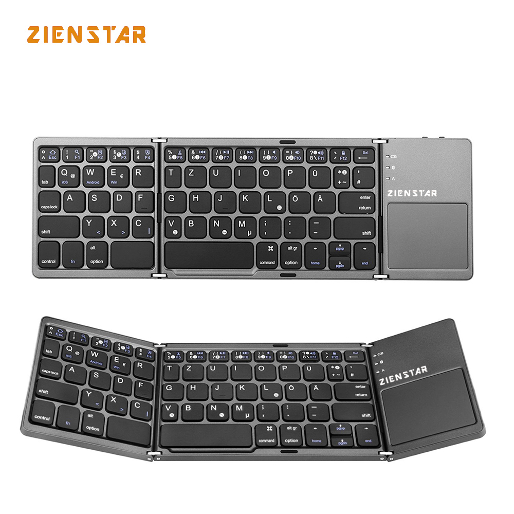 Zienstar German Letter Tri-Folding Wireless Bluetooth Keyboard with Ttouchpad for ipad/Iphone/Macbook/PC computer/Android tablet