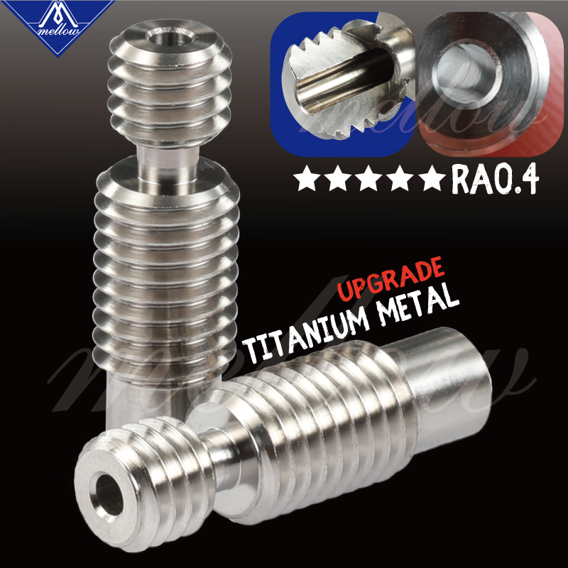 Mellow All-Metal NF V6 Titanium Alloy Heat Break TC4(Grade5) 3D Printer Nozzle Throat For 1.75mm/3.00 HOTEND E3D V6 Heater Block