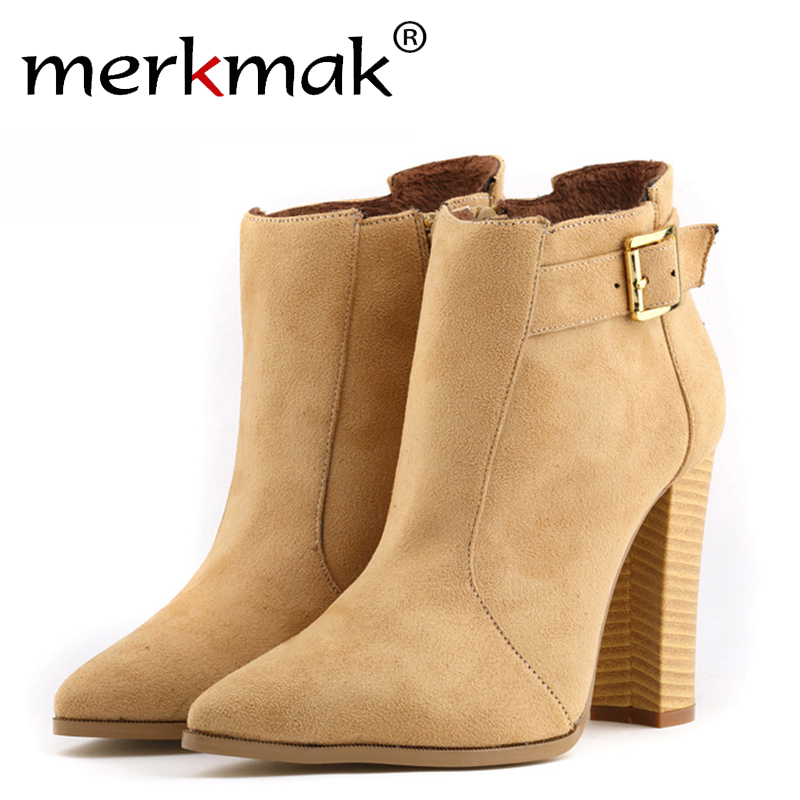 ФОТО Free Shipping Women Thick High Heel Buckle Bootie Zipper Martins Ankle Boots Heels Fashion Ladies Autumn Winter Shoes High Heels