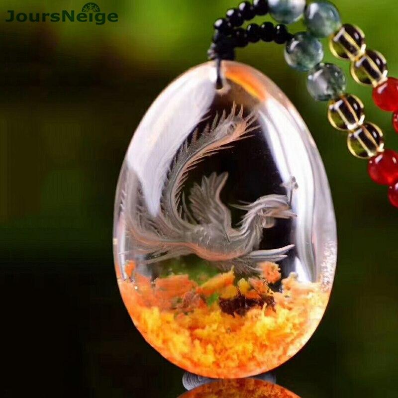 Venta al por mayor flor Natural fantasma cristal colgantes mano tallada Fénix suéter cadena collar suerte para mujeres hombres joyas de cristal-in Colgantes from Joyería y accesorios    1