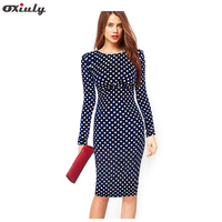2014 Newest Fall Winter Vintage Dot Print Long Sleeve Knee Length Dress Pencil Casual Stretchy Bodycon