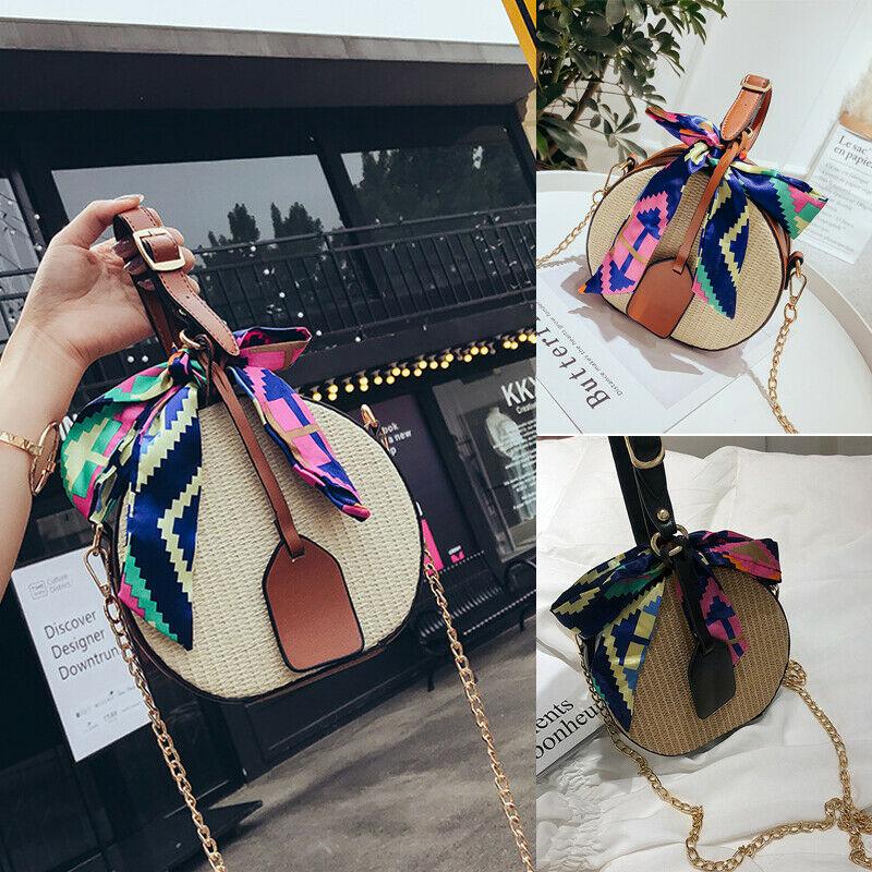 2019 Newest Summer Fashion Women Straw Ribbon Bag Fashion Elegant Round  Beach Holiday Vacation Handbag Shoulder Messenger Bag