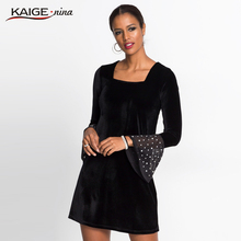 Velvet Party Dress Black Square Collar Flare Sleeve Sexy Women Slit Ruffle Half Bardot Bodycon 1921