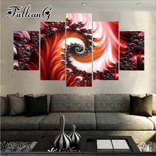 FULLCANG diy 5pcs diamond painting abstract flower full drill 3d cross stitch mosaic embroidery multi-picture hobby G1167
