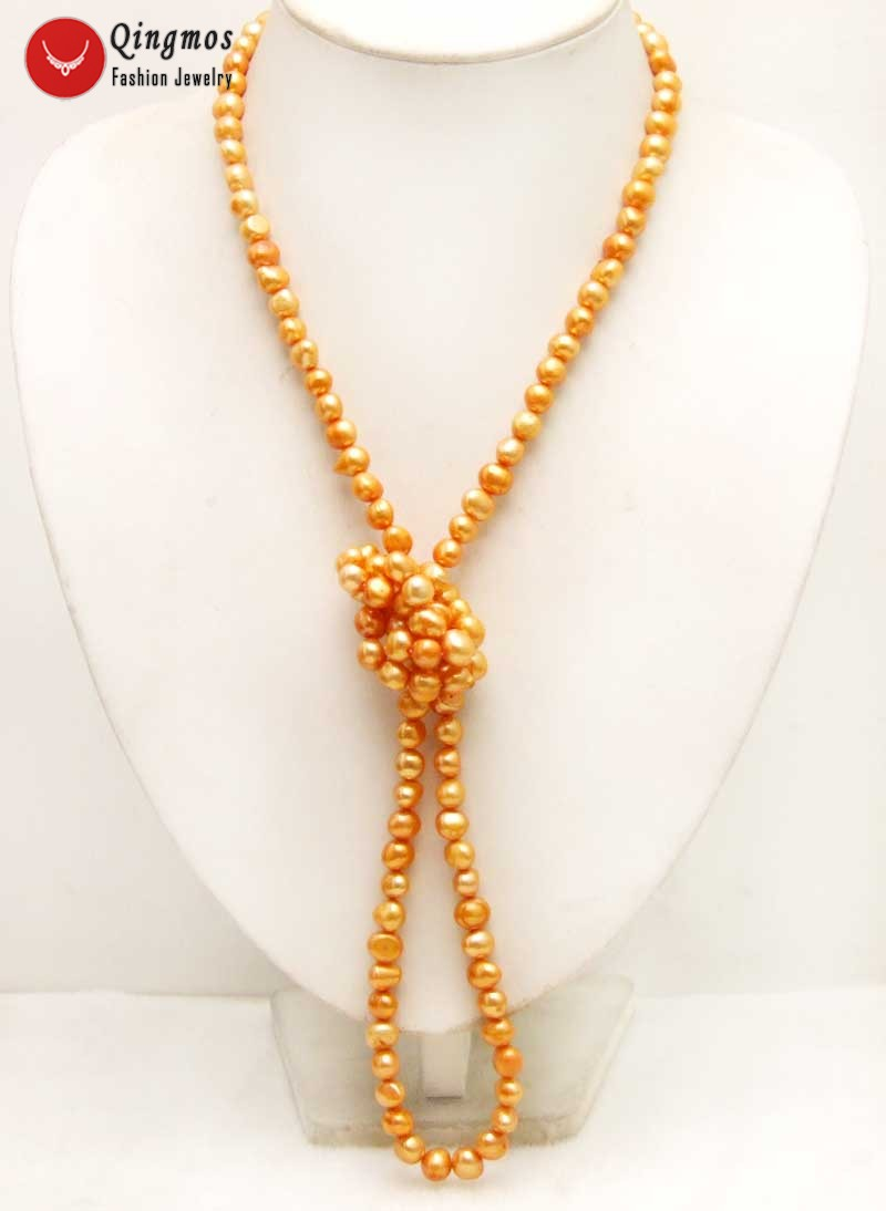 Qingos Trendy 40 Natural Pearl Necklace for Women with 6-7mm Orange Baroque Freshwater Pearl Long Necklace Fine Jewelry 6276