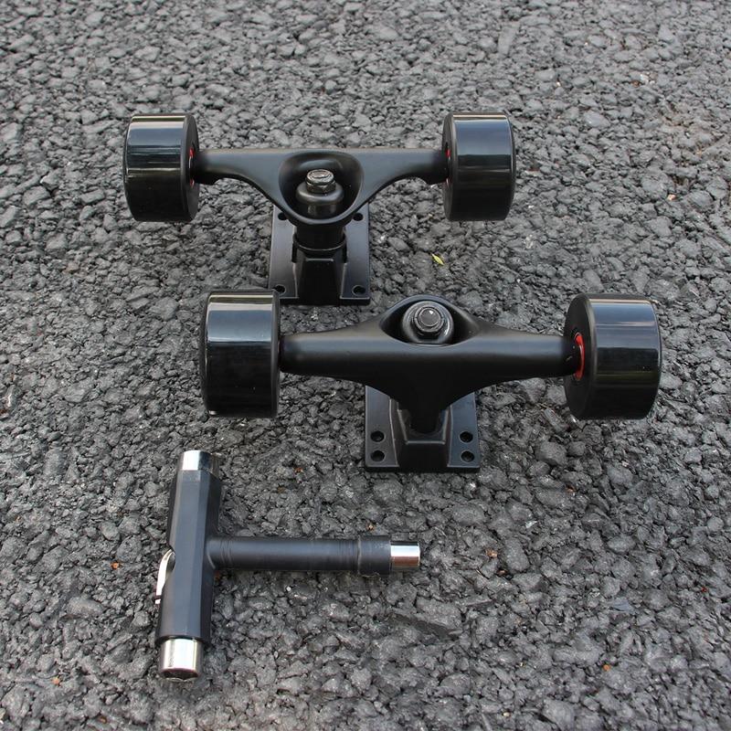 5inch Black Skateboard Truck 55*32mm 78AB Skateboard Wheels Black PU Wheels ABEC-9 High Speed Red Rubber Seal Bearings