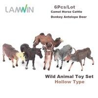 Lamwin 6Pcs Lot Realistic Wild Animal Toy Set Plastic Hollow Action Figure Mini Camel Horse Cattle