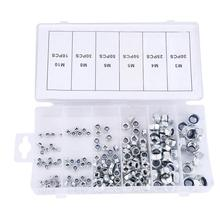195pcs M3/M4/M5/M6/M8/M10 Nut for Wood Metal Self-Locking Hex Nut Fastener Lock Nuts Assortment Kit wood screw and nut