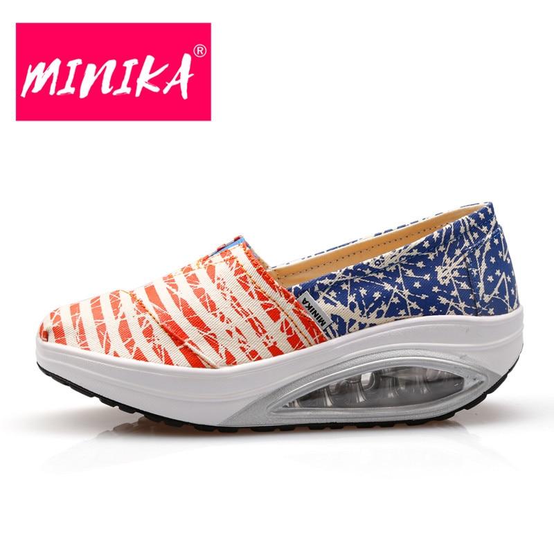 MINIKA 2017 Nueva Mezcla de Colores Rayas Mujeres Agitar Zapatos de - Zapatos de mujer - foto 2