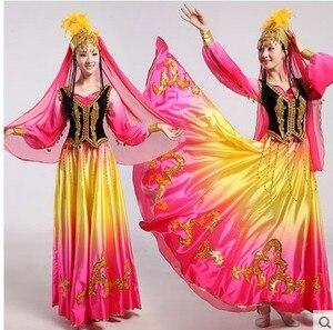 Image 1 - Синьцзянские костюмы, Национальный костюм, открытая юбка качели, уйгурская танцевальная одежда, Женская танцевальная юбка, квадратный костюм