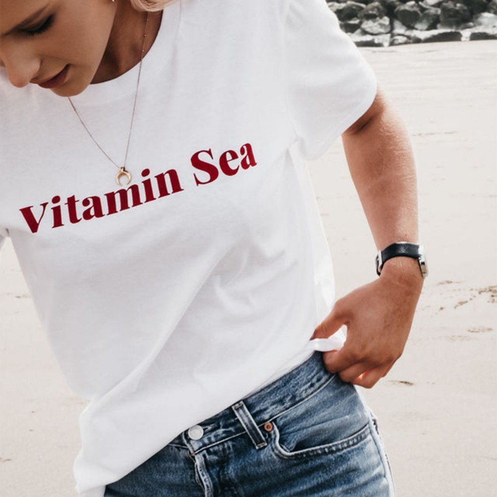 HDY Haoduoyi Femme Summer Fashion Tees Casual Tops O Neck Short Sleeves 39 Vitamin Sea 39 Letter Printed Personality T shirts in T Shirts from Women 39 s Clothing