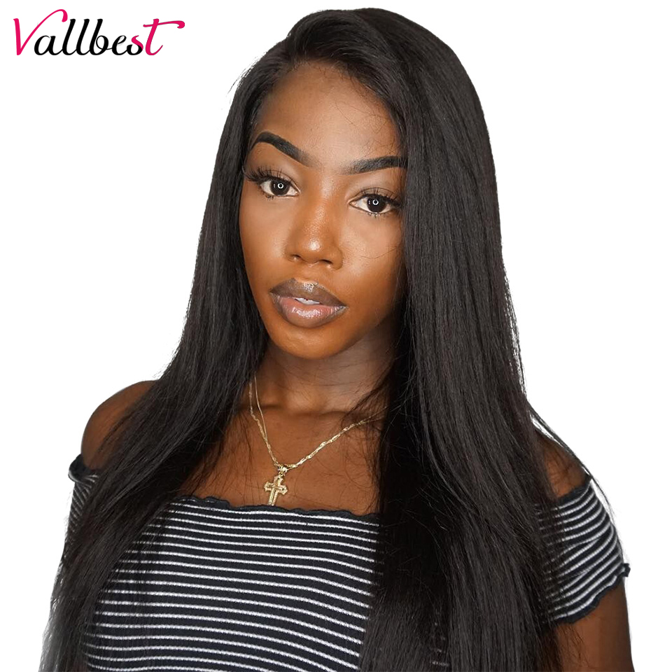 us $59.93 35% off|vallbest brazilian straight lace front human hair wigs  for black women remy straight lace front wig pre plucked with baby hair-in