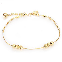 Lucky beads anklet for women girl 18k yellow gold fielld heart shaped bell foot chain fine jewelry