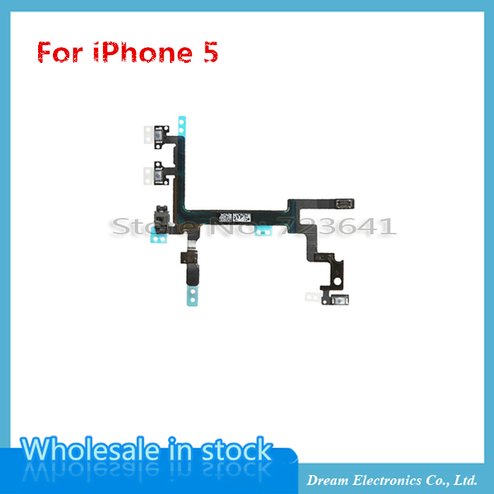 20pcs/lot NEW High Quality Switch ON OFF Lock Power Volume Mute Button Flex Cable For iPhone 5 5G Flex Ribbon Replacement Parts