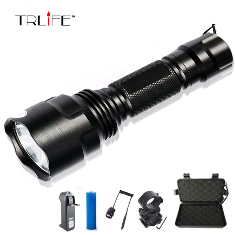 1 Mode LED Flashlight  T6/L2 8000LM Tactical Flashlight Aluminum Hunting Flash Light Torch Lamp +18650+Charger+Gun Mount1 Mode LED Flashlight  T6/L2 8000LM Tactical Flashlight Aluminum Hunting Flash Light Torch Lamp +18650+Charger+Gun Mount