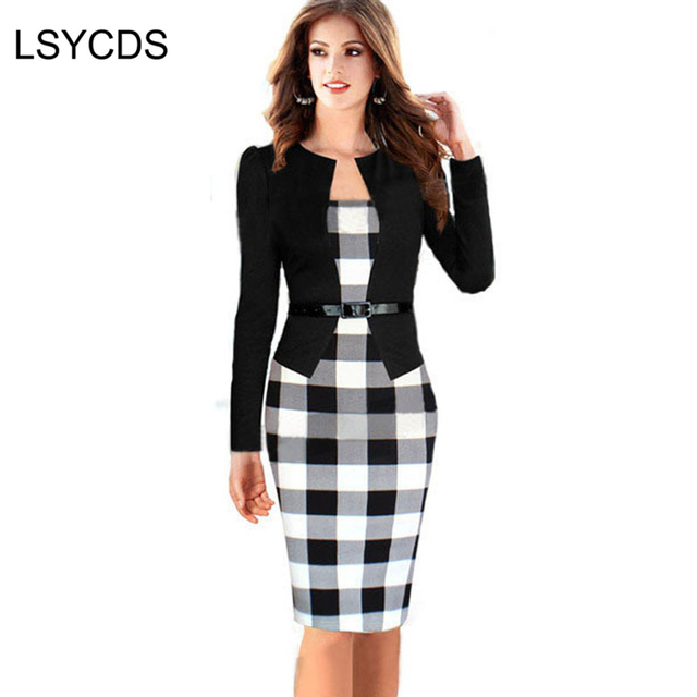 4cdea9386a Women Dress Suits Female Elegant Business Work Formal Office Blazer Suits Full  Sleeve Knee Length Pencil Dress Plus Size S-4XL