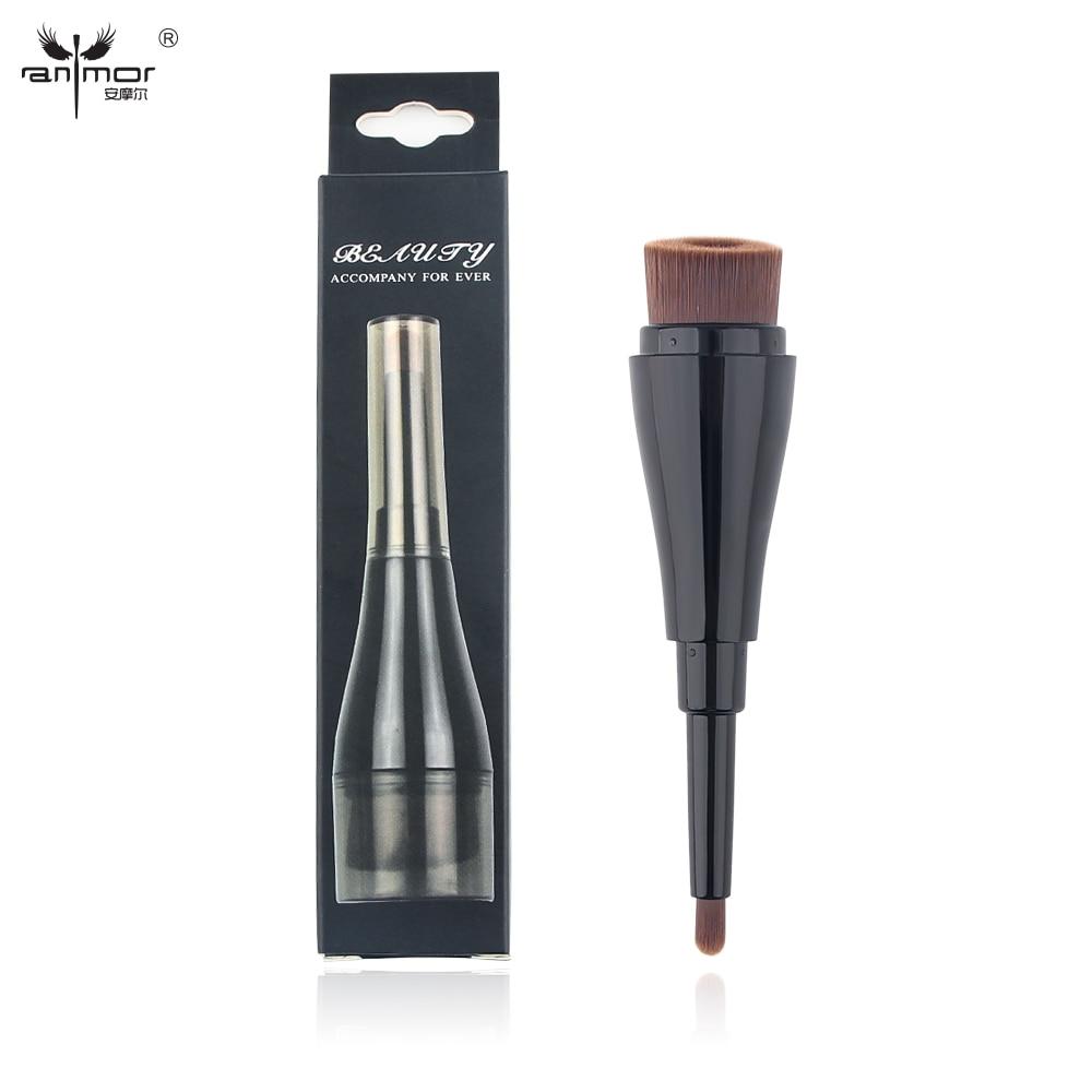 1 Stycke Syntetisk Foundation och Concealer Brush Double-End Makeup Borstar Med Retail Box ST001