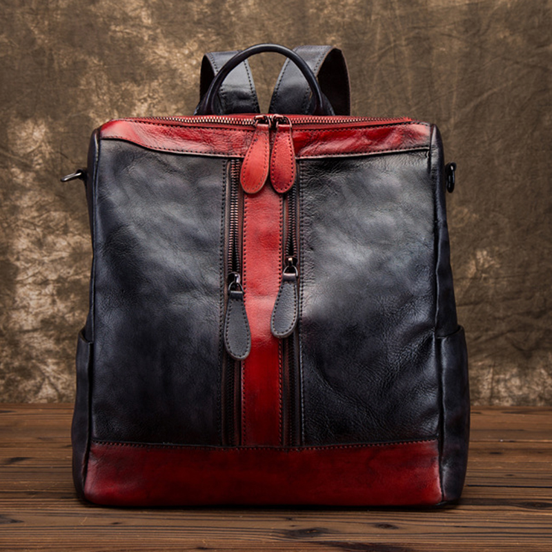 Real Cowhide Women Backpack Vintage Daypack Brush Color Travel Bag Leisure Female High Quality Genuine Leather