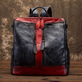 Real Cowhide Women Backpack Vintage Daypack Brush Color Travel Bag Leisure Female High Quality Genuine Leather Rucksack Knapsack - DISCOUNT ITEM  39% OFF All Category