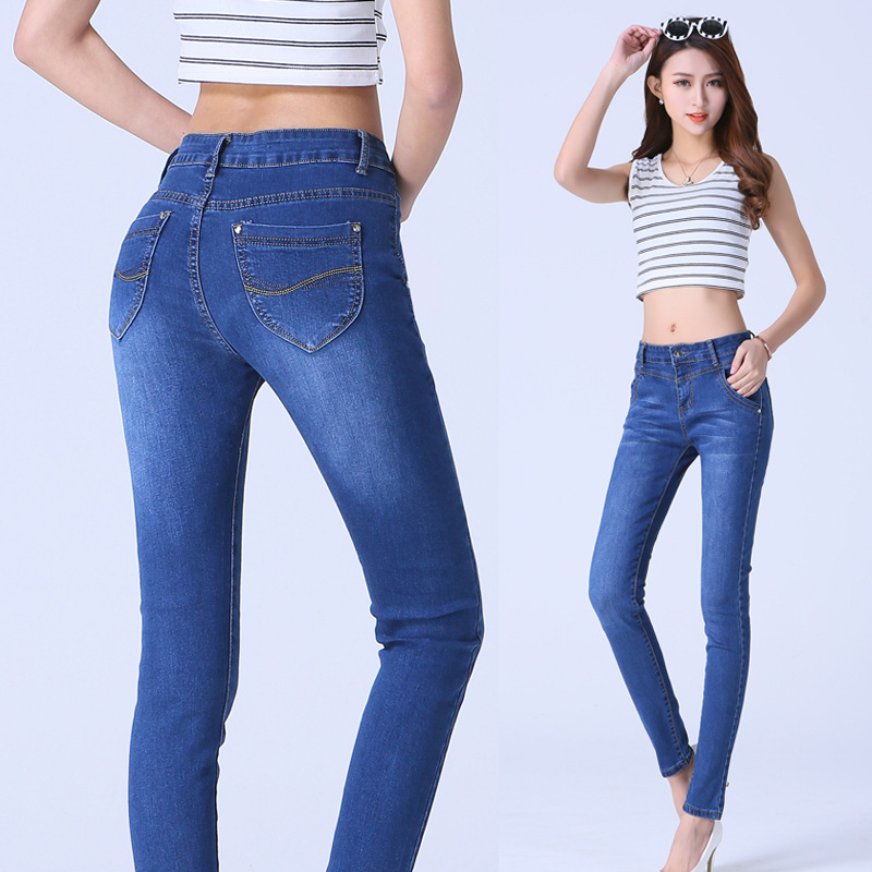 2016 Spring European Style Skinny Jeans Woman High Waist New Fashion Brand Women Jeans Plus Size