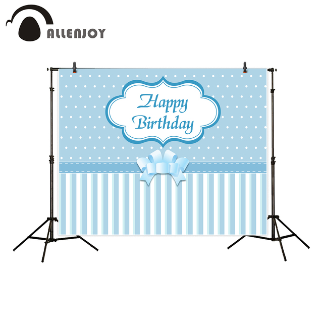 Allenjoy backgrounds for photography studio baby blue stripes Bowknot happy birthday boy backdrops original design photocall